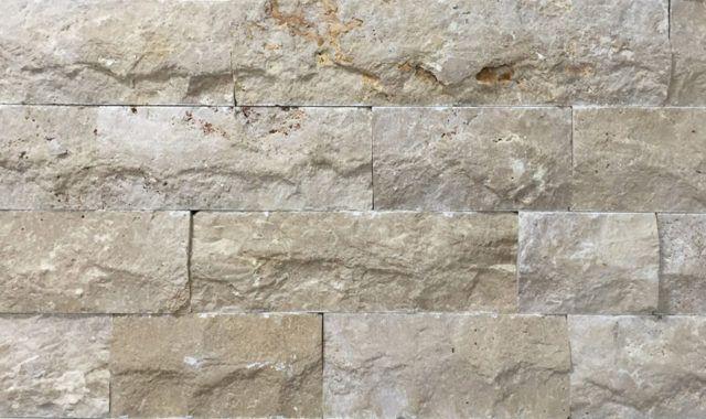 Granite Faced Blocks : Light travertine split face mm free length
